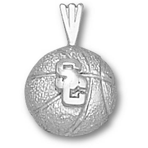 USC Trojans 1/4in Sterling Silver Basketball Pendant