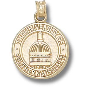 14kt Yellow Gold 5/8in Southern Miss Dome Pendant