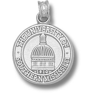 Sterling Silver 5/8in Southern Miss Dome Seal Pendant