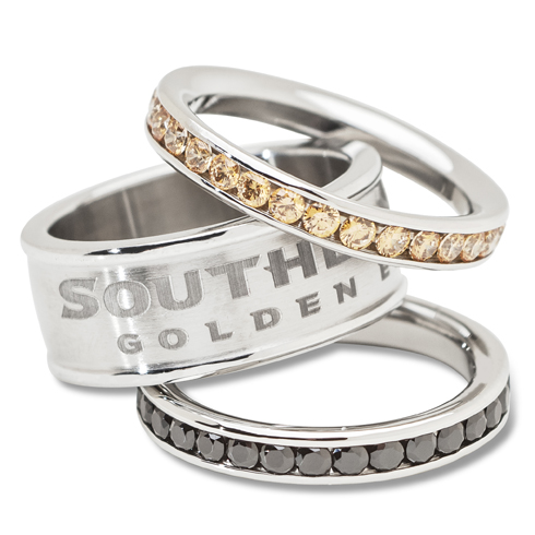 Southern Mississippi Crystal Stacked Ring Set