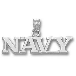Sterling Silver 1/4in Navy Midshipmen NAVY Pendant