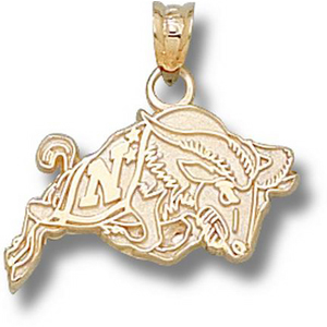 14kt Yellow Gold 1/2in US Navy Bill the Goat Pendant