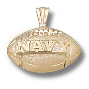 Navy Midshipmen 1/2in 14k Football Pendant
