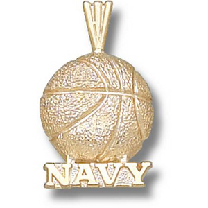 Navy Midshipmen 5/8in 14k Basketball Pendant