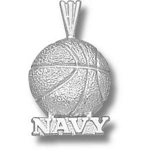 Navy Midshipmen 5/8in Sterling Silver Basketball Pendant