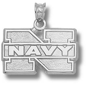 Sterling Silver 1/2in Navy N Pendant