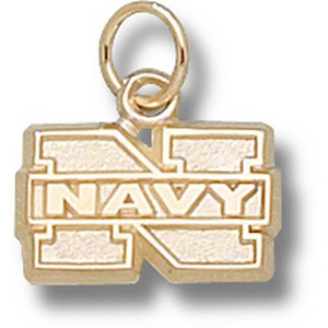 14kt Yellow Gold 5/16in Naval Academy N Pendant