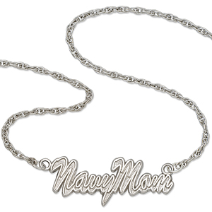 Navy Mom 18in Sterling Silver Script Necklace