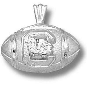 Sterling Silver 1/2in South Carolina Football Pendant