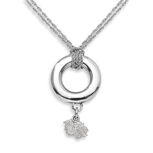 Sterling Silver 16in University of South Carolina Halo Necklace