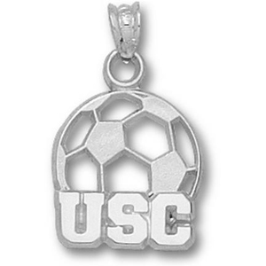 Sterling Silver 1/2in South Carolina Soccer Pendant