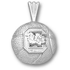 South Carolina 1/2in Sterling Silver Basketball Pendant