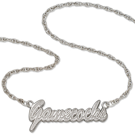 Sterling Silver 18in Gamecocks Script Necklace