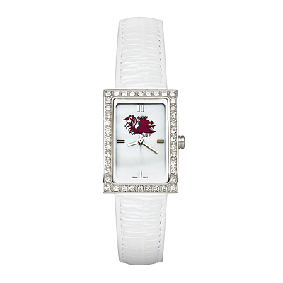 University of South Carolina Allure White Leather Watch