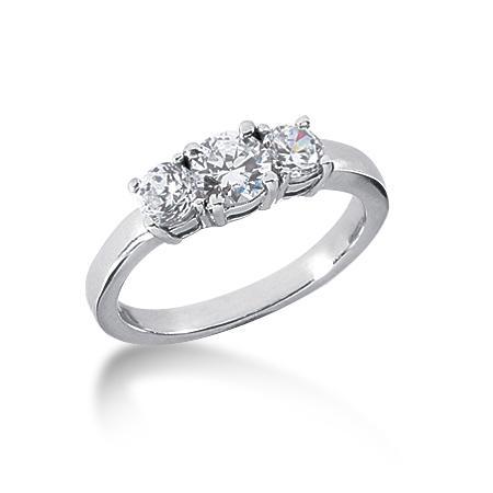 1 CT TW 14KW Moissanite 3-Stone Ring