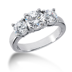 2 CT TW 14KW Moissanite 3-Stone Ring