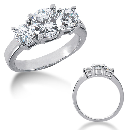 2.5 CT TW 14KW Moissanite 3-Stone Ring