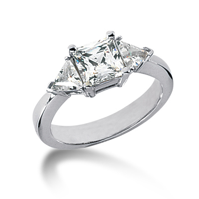 1.5 ct tw Square and Trillion 3-Stone Moissanite Ring