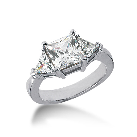 2.7 ct tw Square and Trillion 3-Stone Moissanite Ring
