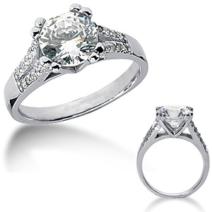 1.70 CT TW Moissanite Engagement Ring