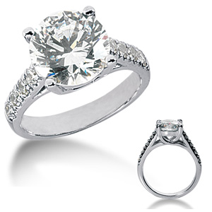 14kt White Gold 3.3 CT TW Moissanite Engagement Ring