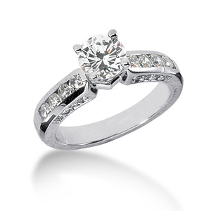 2.1 CT TW Moissanite Engagement Ring
