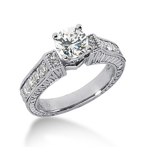 1.83 CT TW Moissanite Engagement Ring