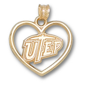 UTEP Miners 5/8in 10k Heart Pendant