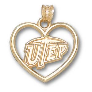 UTEP Miners 5/8in 14k Heart Pendant