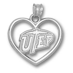Sterling Silver 5/8in UTEP Heart Pendant