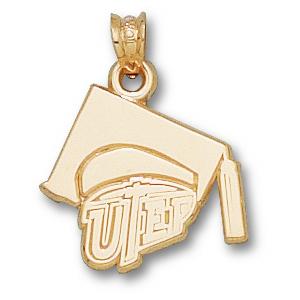 10kt Yellow Gold 5/8in UTEP Grad Cap Pendant