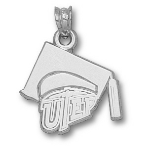 Sterling Silver 5/8in UTEP Grad Cap Pendant