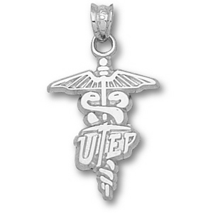 UTEP Miners 3/4in Sterling Silver Caduceus Pendant