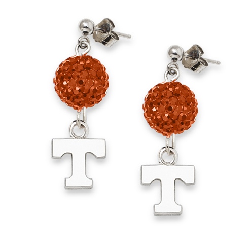 Sterling Silver University of Tennessee Crystal Ovation Earrings