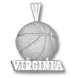 University of Virginia 5/8in Sterling Silver Basketball Pendant