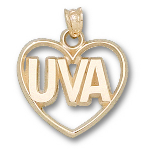 14kt Yellow Gold 5/8in University of Virginia Heart Pendant