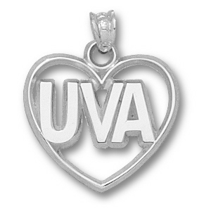 Sterling Silver 5/8in University of Virginia Heart Pendant