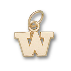 14kt Yellow Gold 1/4in University of Washington W Charm