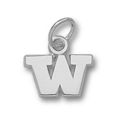 Sterling Silver 1/4in University of Washington W Charm