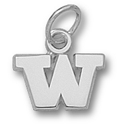 Sterling Silver 1/4in University of Washington W Charm