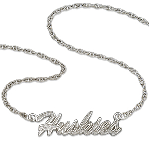 Washington Huskies 18in Sterling Silver Script Necklace