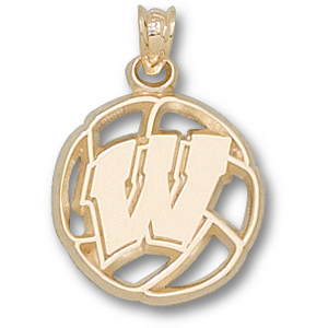 Wisconsin Badgers 5/8in 10k Volleyball Pendant