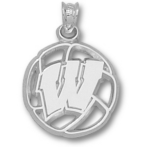 Sterling Silver 5/8in Wisconsin Badgers Volleyball Pendant
