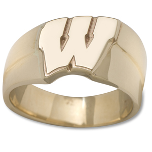 14kt Yellow Gold University of Wisconsin Motion W Men's Ring