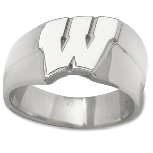 Sterling Silver University of Wisconsin Motion W Men's Ring