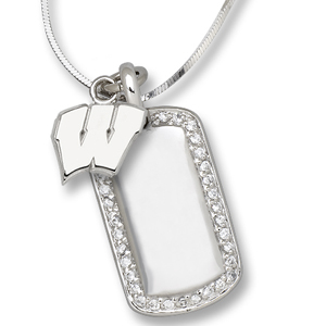 Sterling Silver University of Wisconsin Mini Dog Tag Necklace