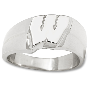 Wisconsin Badgers 3/8in Ladies Ring - Sterling Silver