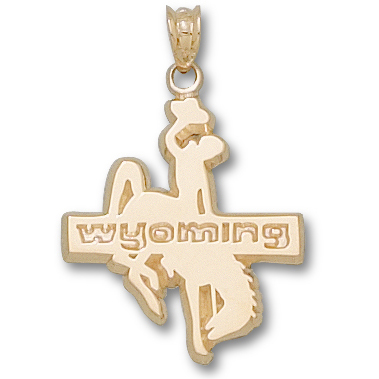 10kt Yellow Gold 7/8in Wyoming Cowboys Pendant
