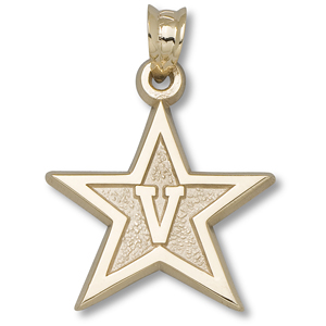 14kt Yellow Gold 5/8in Vanderbilt University Star Pendant