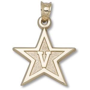 10kt Yellow Gold 5/8in Vanderbilt University Star Pendant